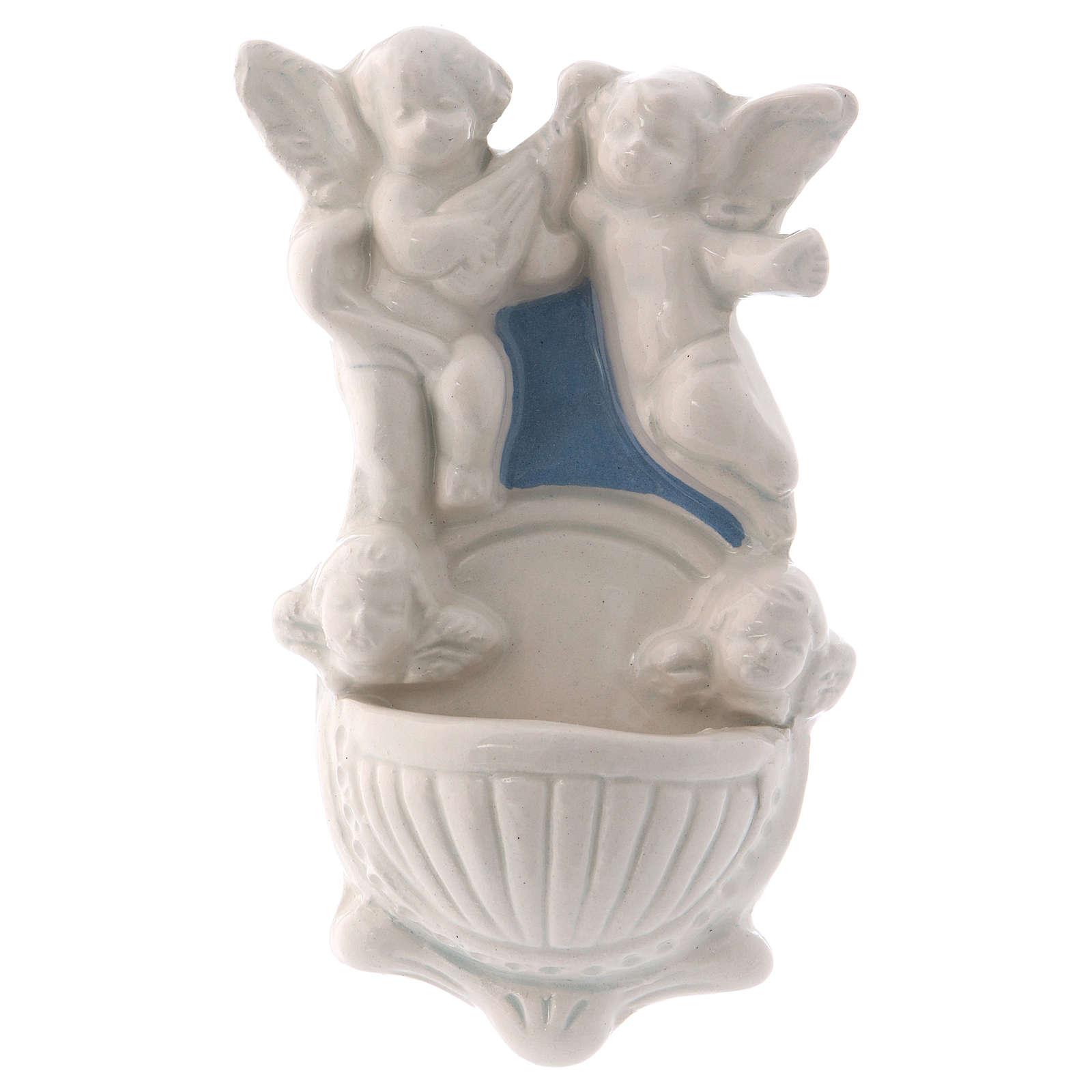 Acquasantiera due angioletti due volti angelo sfondo azzurro 12x7x3 cm 4