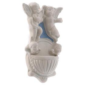 Acquasantiera due angioletti due volti angelo sfondo azzurro 12x7x3 cm s2