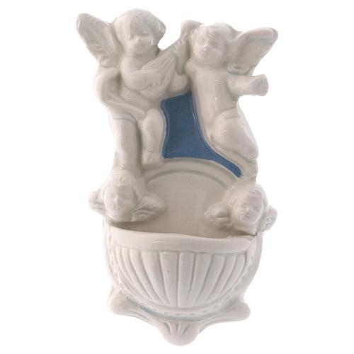 Acquasantiera due angioletti due volti angelo sfondo azzurro 12x7x3 cm 1