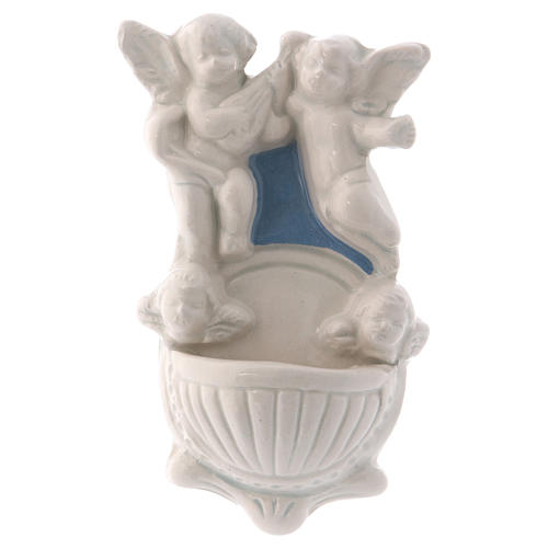 Angels holy water font made in Deruta 5 in 1