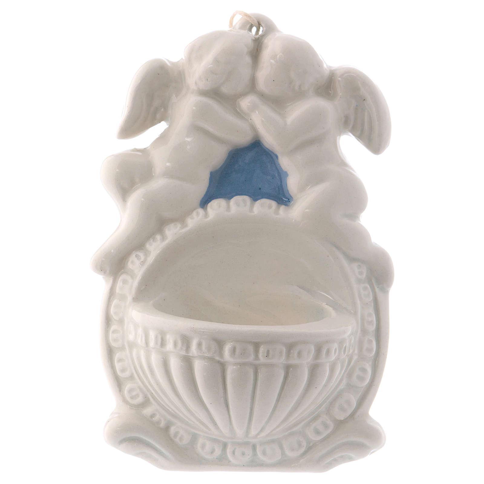 Bénitier deux anges fond bleu 10x10x5 cm céramique Déruta 4