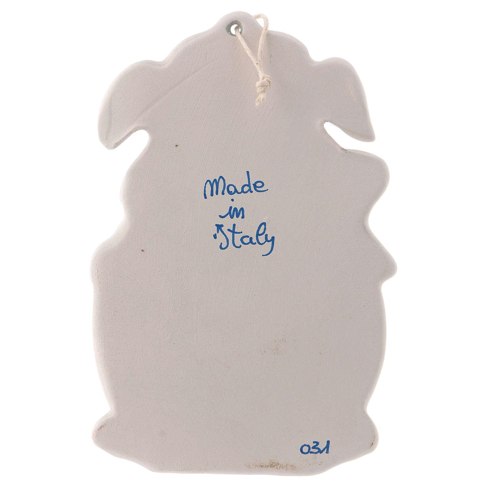 Pia água benta dois anjos fundo azul 10x10x5 cm cerâmica Deruta 4