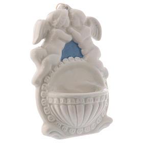 Pia água benta dois anjos fundo azul 10x10x5 cm cerâmica Deruta s2