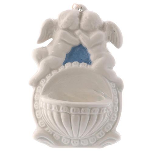 Pia água benta dois anjos fundo azul 10x10x5 cm cerâmica Deruta 1