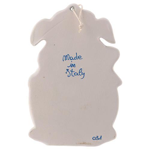 Pia água benta dois anjos fundo azul 10x10x5 cm cerâmica Deruta 3
