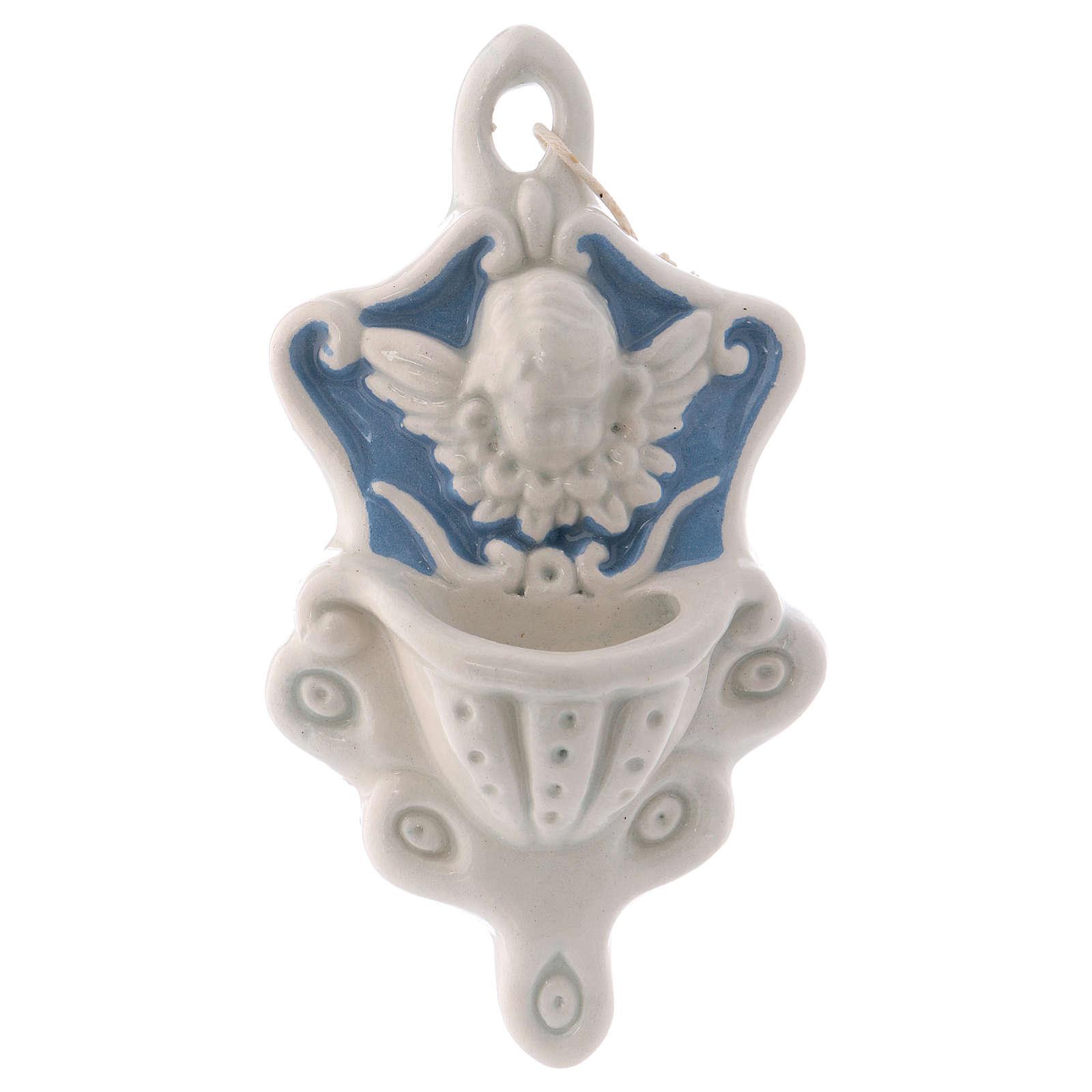 Pia água benta cerâmica Deruta anjinho fundo azul decorada com gravuras 10x5x5 cm 4