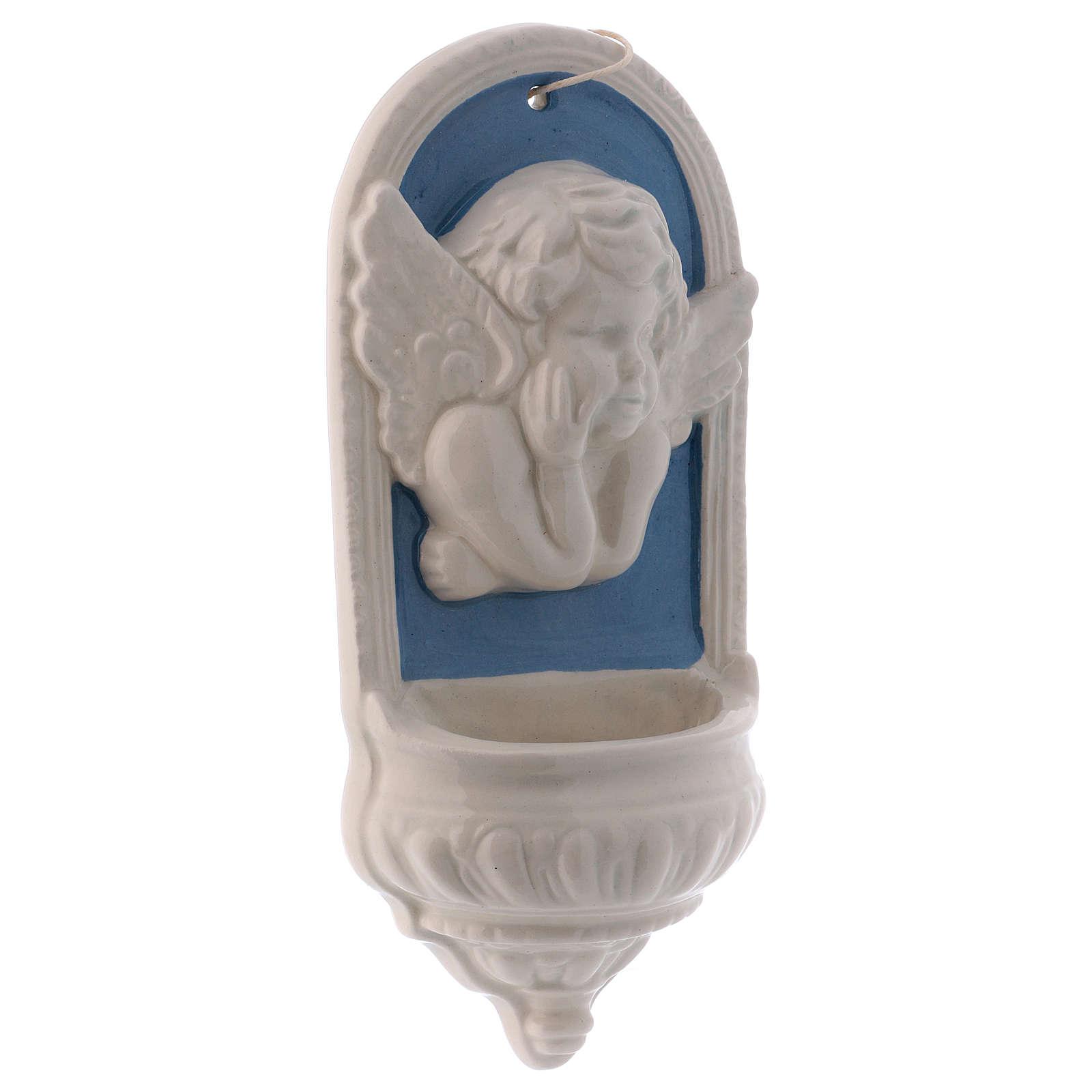 Acquasantiera sfondo azzurro forma di arco volto angioletto sopra 15x10x5 cm 4