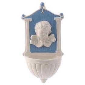 Acquasantiera angioletto sfondo blu colonnine su lato 15x10x5 cm ceramica Deruta s1
