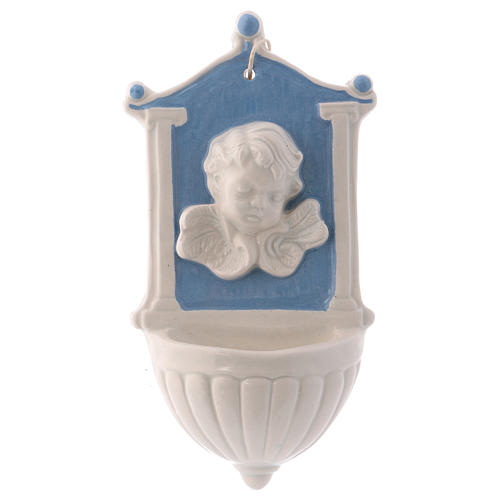 Acquasantiera angioletto sfondo blu colonnine su lato 15x10x5 cm ceramica Deruta 1