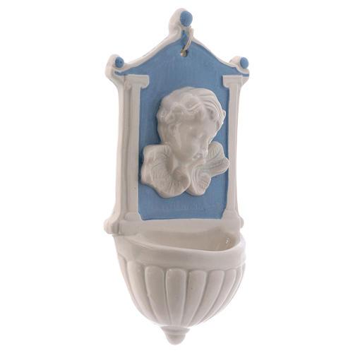 Pia água benta anjinho fundo azul colunas no lado 15x10x5 cm cerâmica Deruta 2