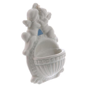 Bénitier avec anges 10 cm céramique Deruta s2