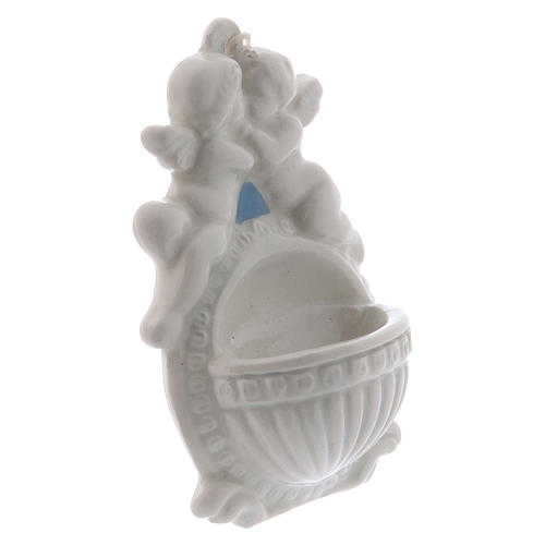 Bénitier avec anges 10 cm céramique Deruta 2