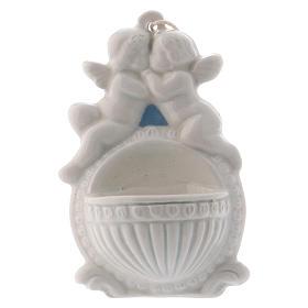 Acquasantiera con angeli 10 cm ceramica Deruta s1