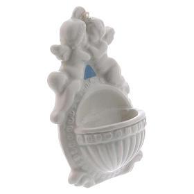 Acquasantiera con angeli 10 cm ceramica Deruta s2