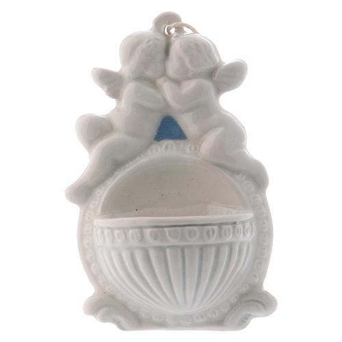 Acquasantiera con angeli 10 cm ceramica Deruta 1