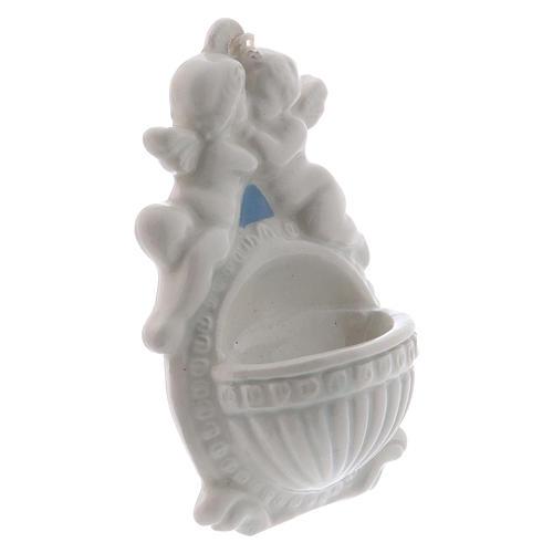 Acquasantiera con angeli 10 cm ceramica Deruta 2