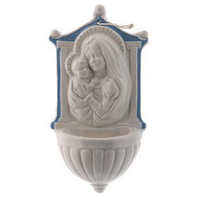 Holy water stoup with Virgin Mary and Baby Jesus with sky blue details 16 cm in ceramic made in Deruta s1