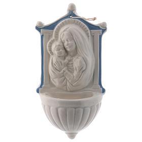 Pia água benta Virgem Menino detalhes azuis 16 cm cerâmica Deruta s1