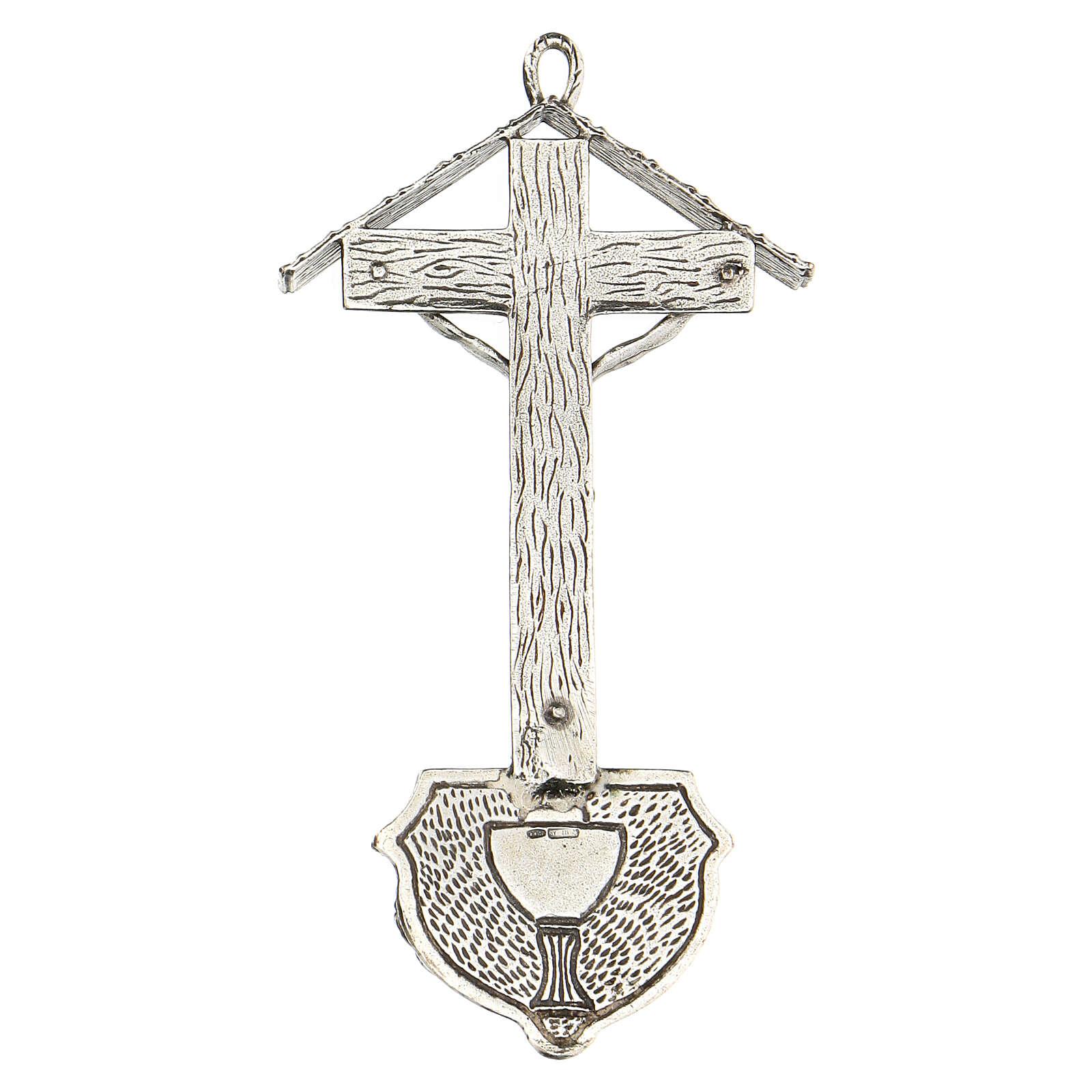Acquasantiera croce con travi in argento 800 4