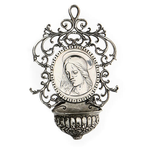 Acquasantiera con Madonna argento 800 1