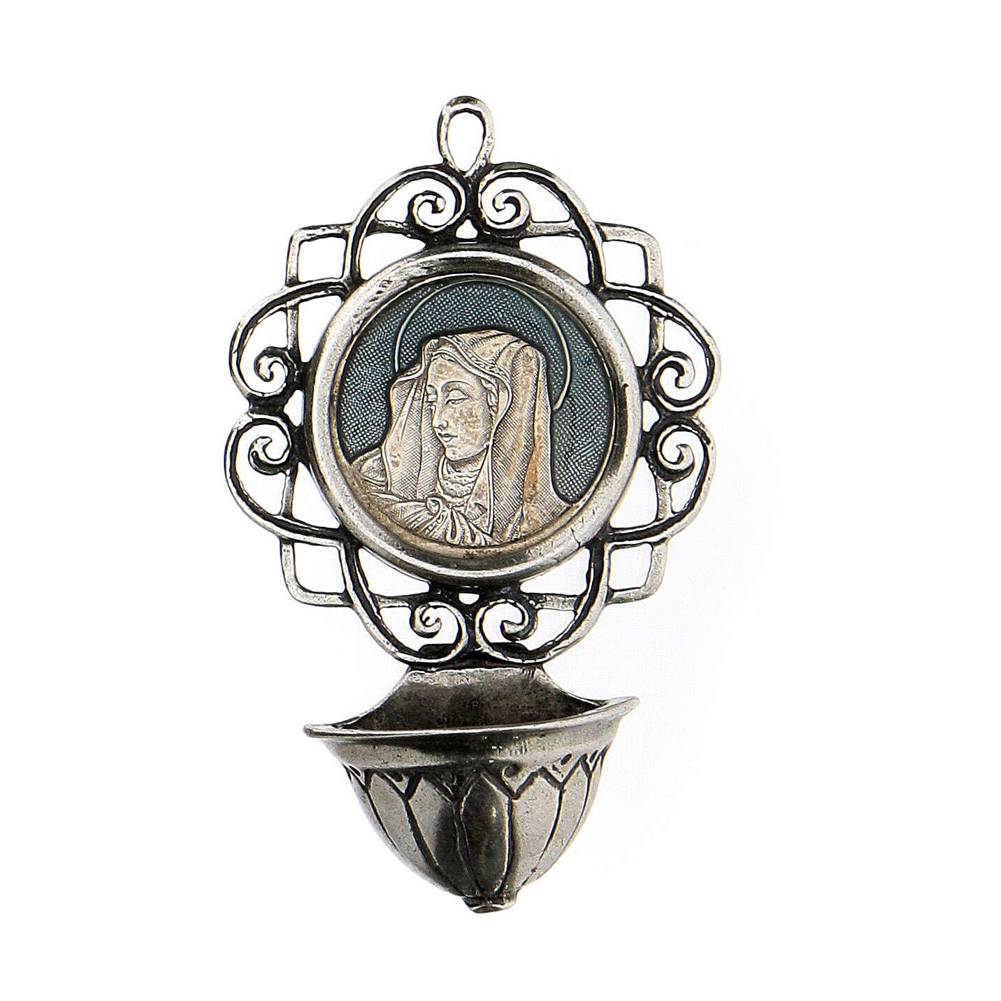 Acquasantiera 6 cm con Madonna argento 800 4