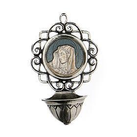 Acquasantiera 6 cm con Madonna argento 800 s1