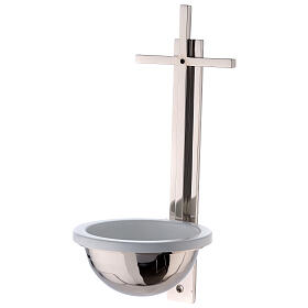 Nickel-plated brass Holy water font with latin cross 12 in s1