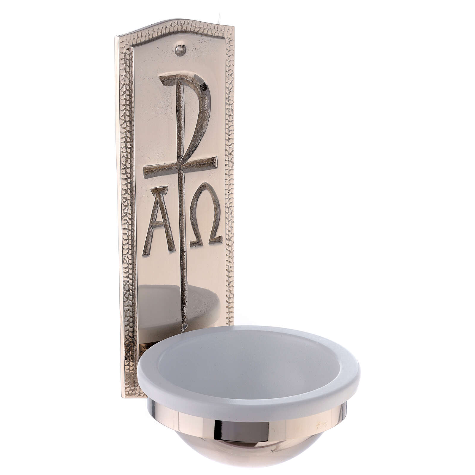 Nickel-plated brass Holy water font with Chi-Rho Alpha Omega 10 in 4