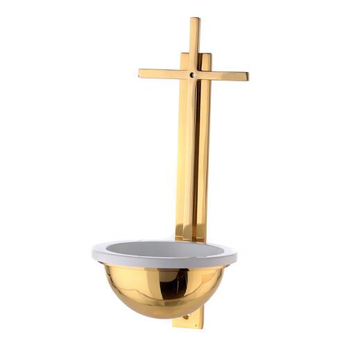 Pila cruz plana latón dorado 31 cm 1