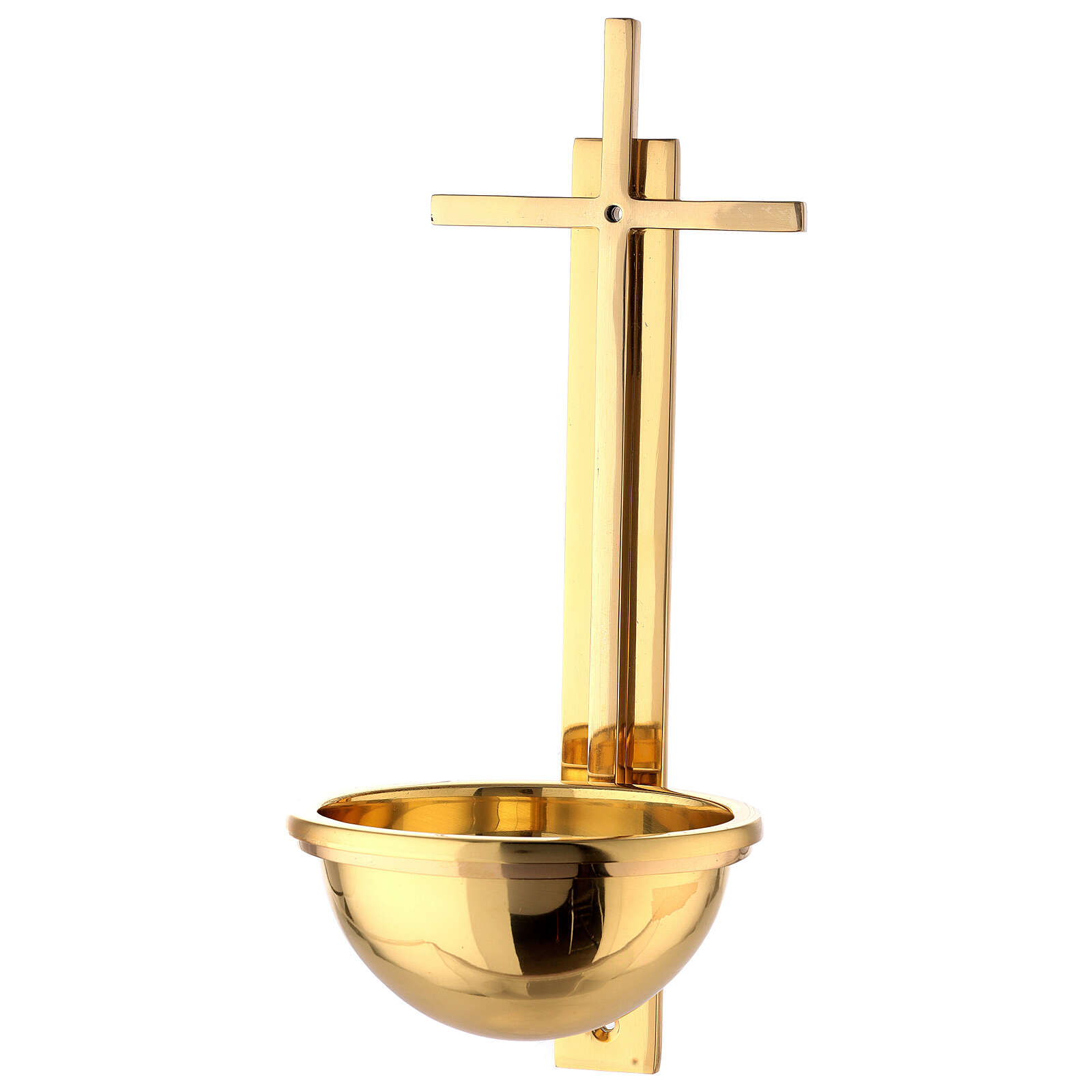 Gold plated brass Holy water font with latin cross 12 in 4