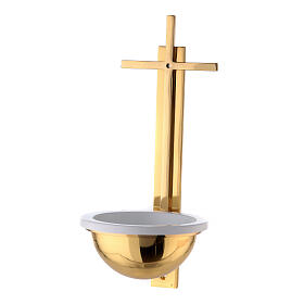 Gold plated brass Holy water font with latin cross 12 in s1
