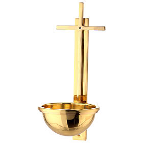 Gold plated brass Holy water font with latin cross 12 in s3