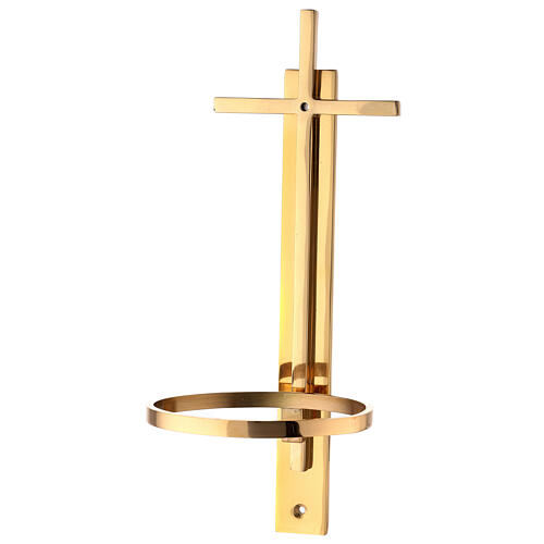 Gold plated brass Holy water font with latin cross 12 in 5
