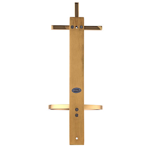 Gold plated brass Holy water font with latin cross 12 in 8