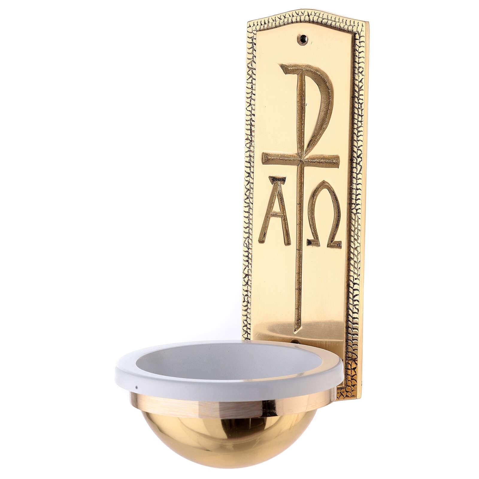 Bénitier monogramme Christ laiton doré 25 cm 4