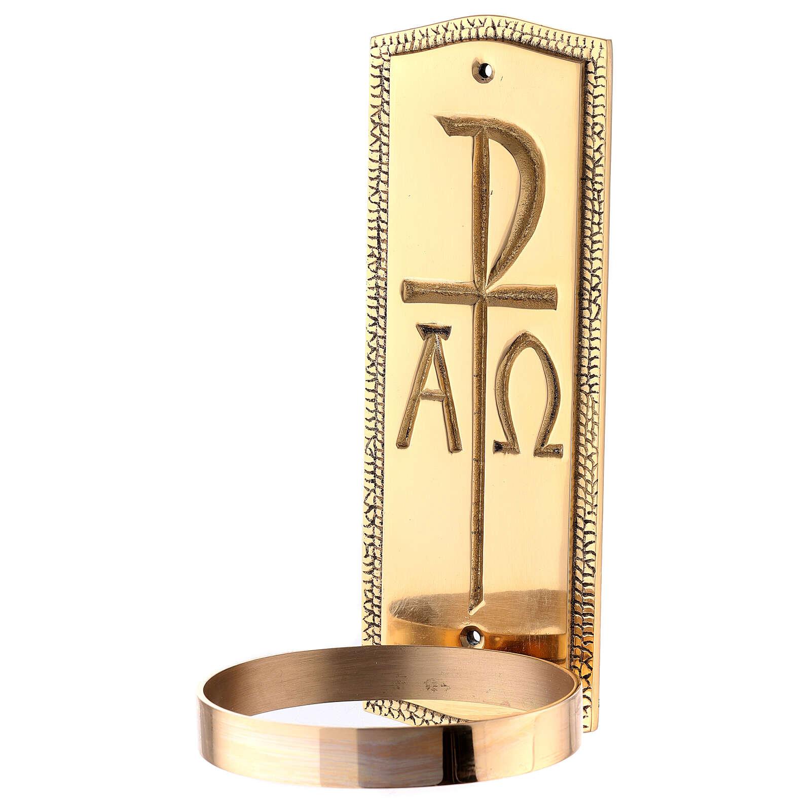 Acquasantiera monogramma Cristo ottone dorato 25 cm 4