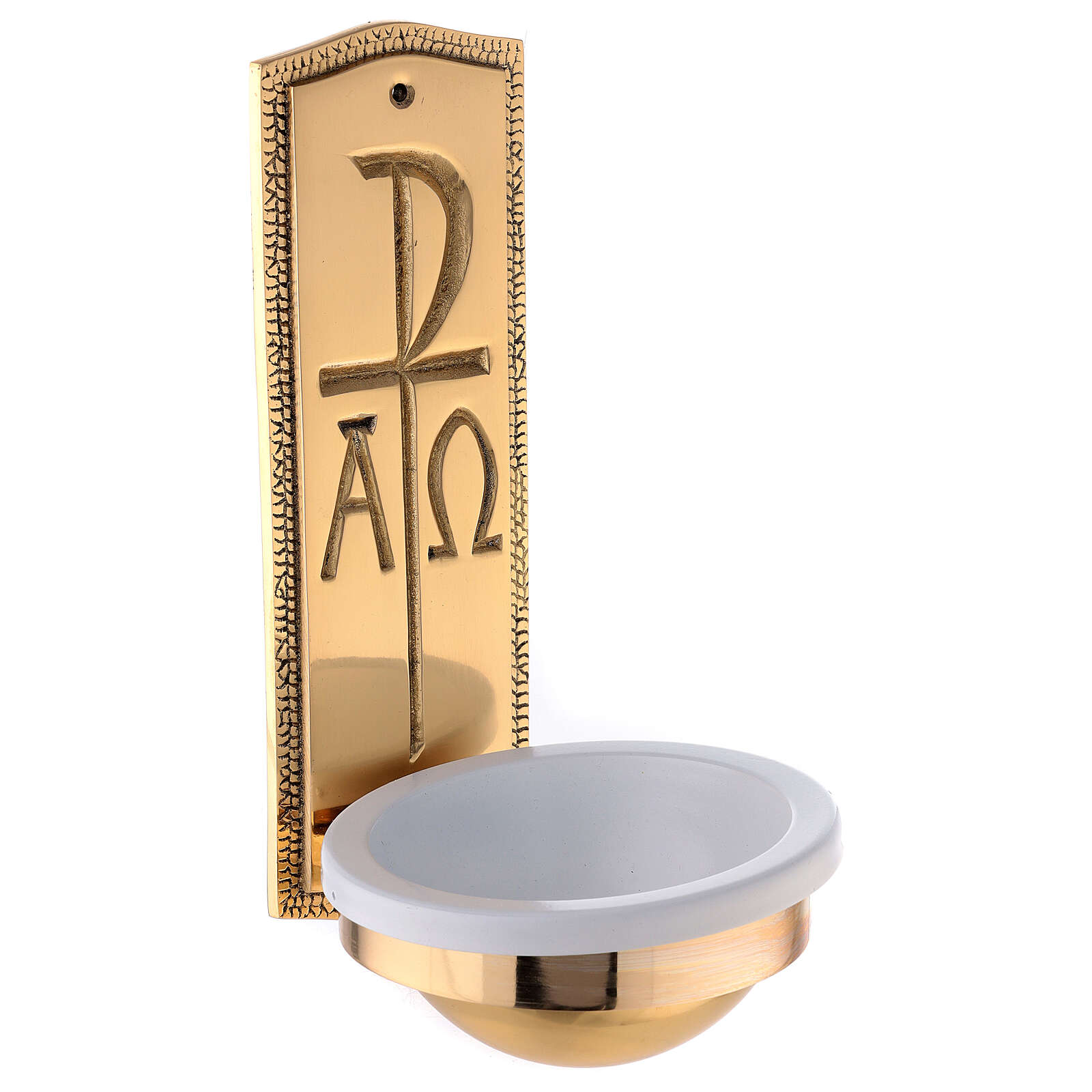 Gold plated brass Holy water font with Chi-Rho Alpha Omega 10 in 4