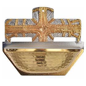Acquasantiera dorata croce s1