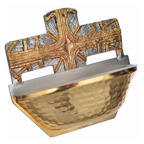 Acquasantiera dorata croce 2