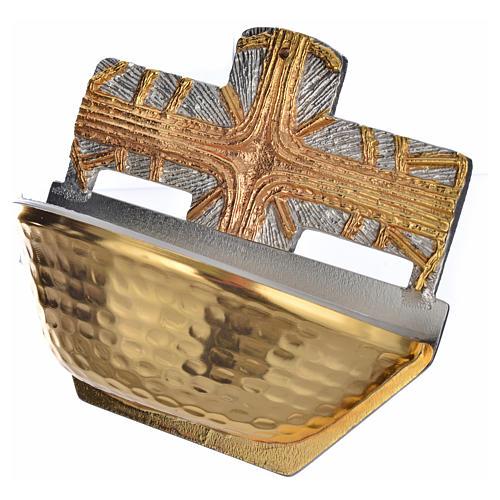 Acquasantiera dorata croce 3