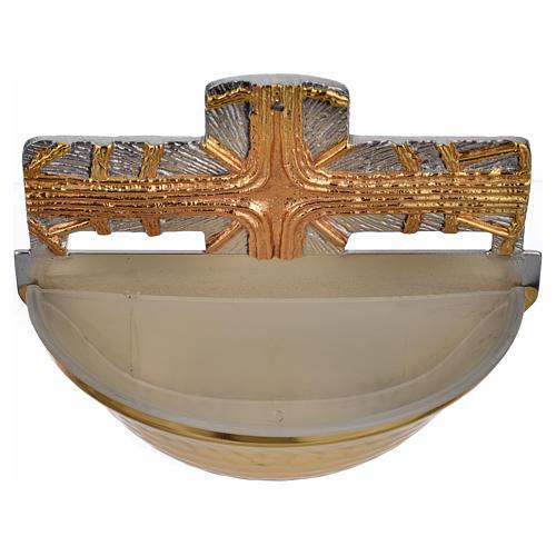 Acquasantiera dorata croce 4