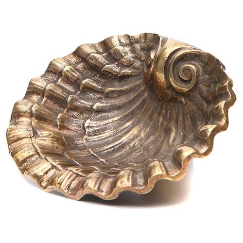 Acquasantiera conchiglia ottone bronzato 23x28 cm 10