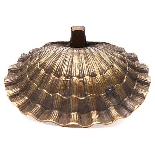 Acquasantiera conchiglia ottone bronzato 23x28 cm 3
