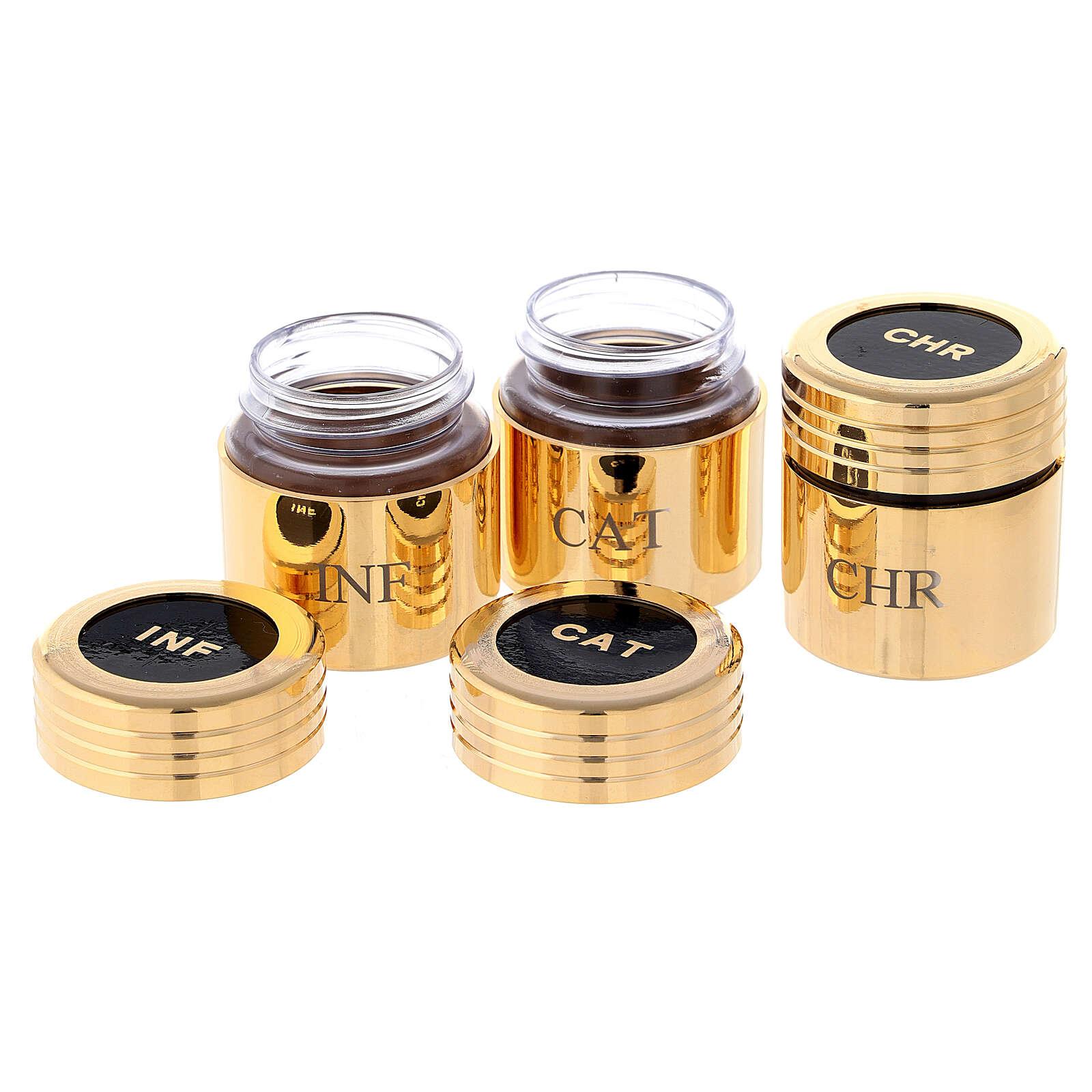 Heilige Öle Etui mit goldenen Gläschen 3