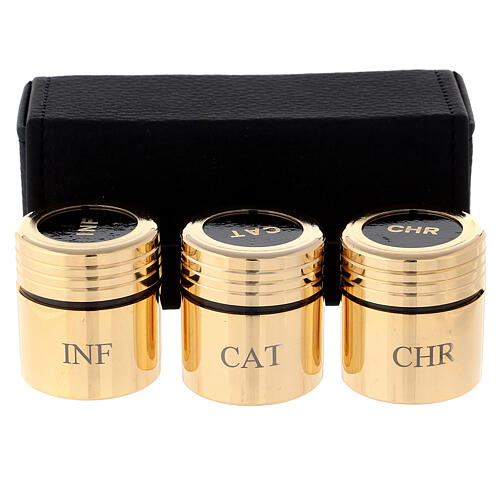Heilige Öle Etui mit goldenen Gläschen 1