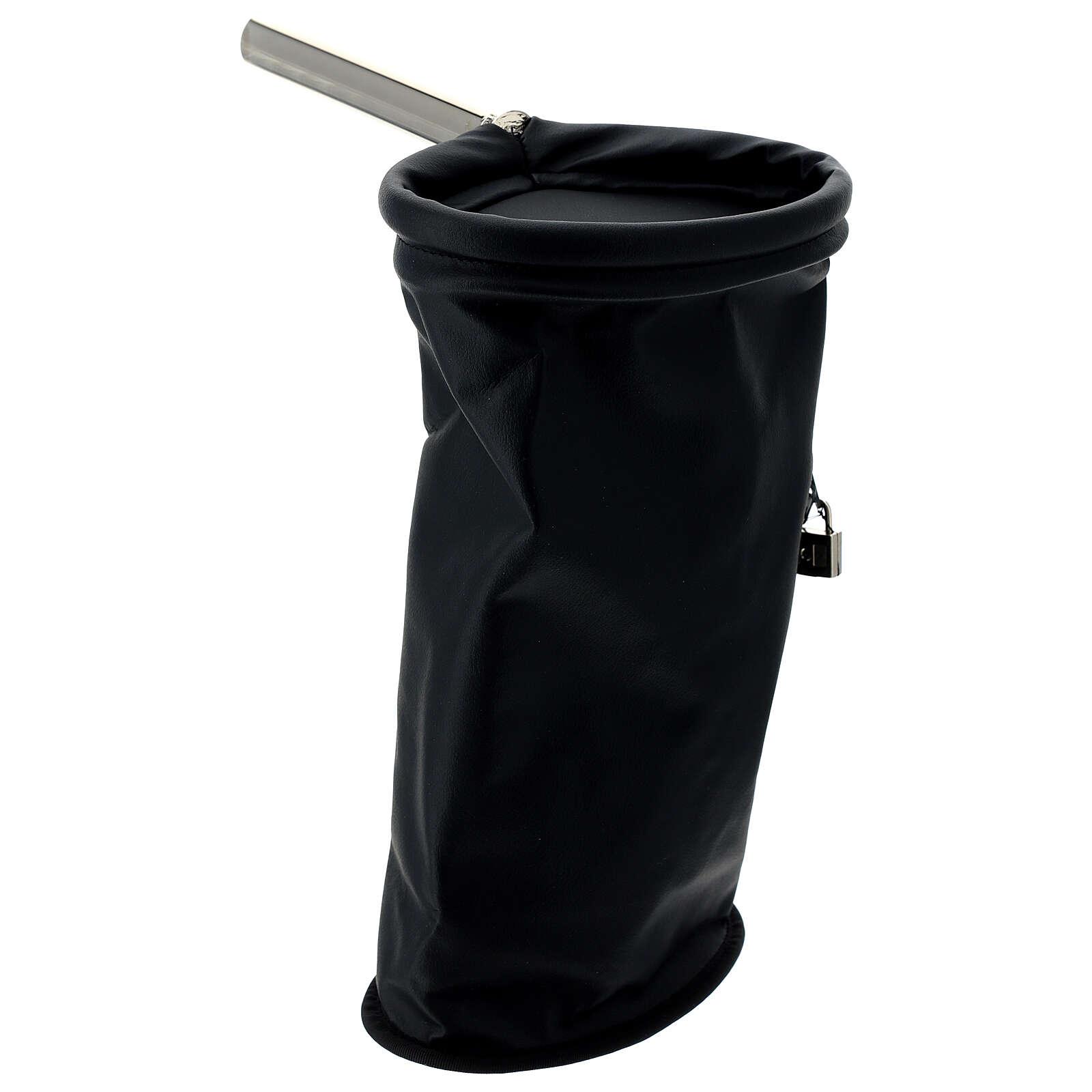 Klingelbeutel, Schwarz mit Vorhängeschloss 3