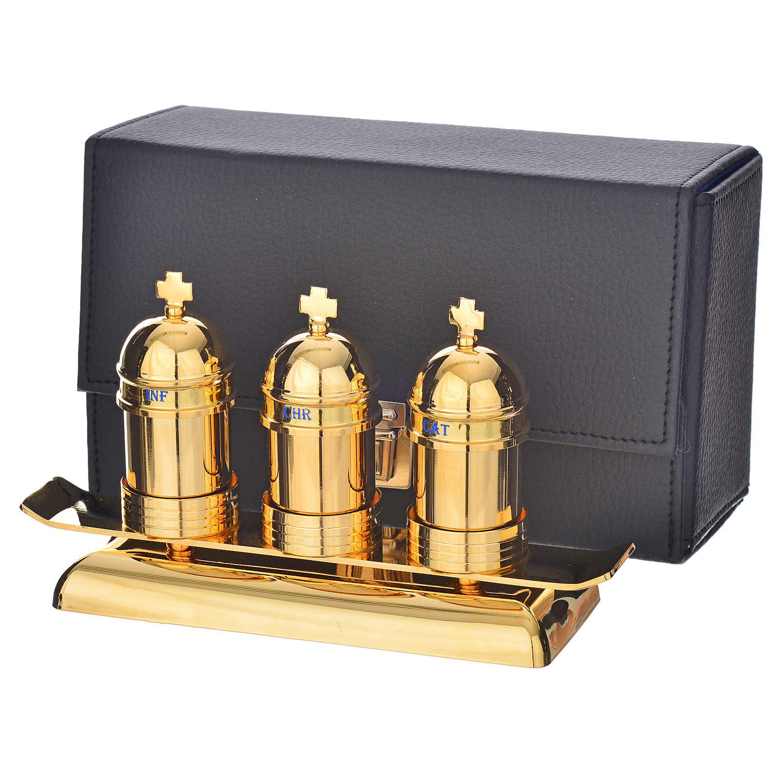 Etui Vintage mit 3 Gläschen für heilige Öle 3