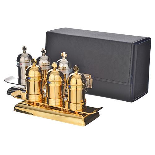 Saintes huiles: étui avec 3 vases modèle vintage 1