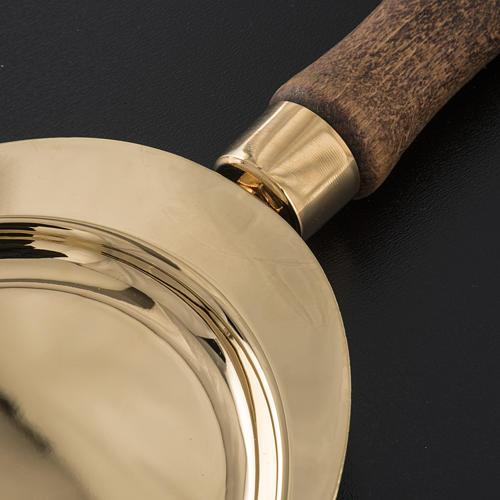 Plateau de communion laiton poigné bois 3