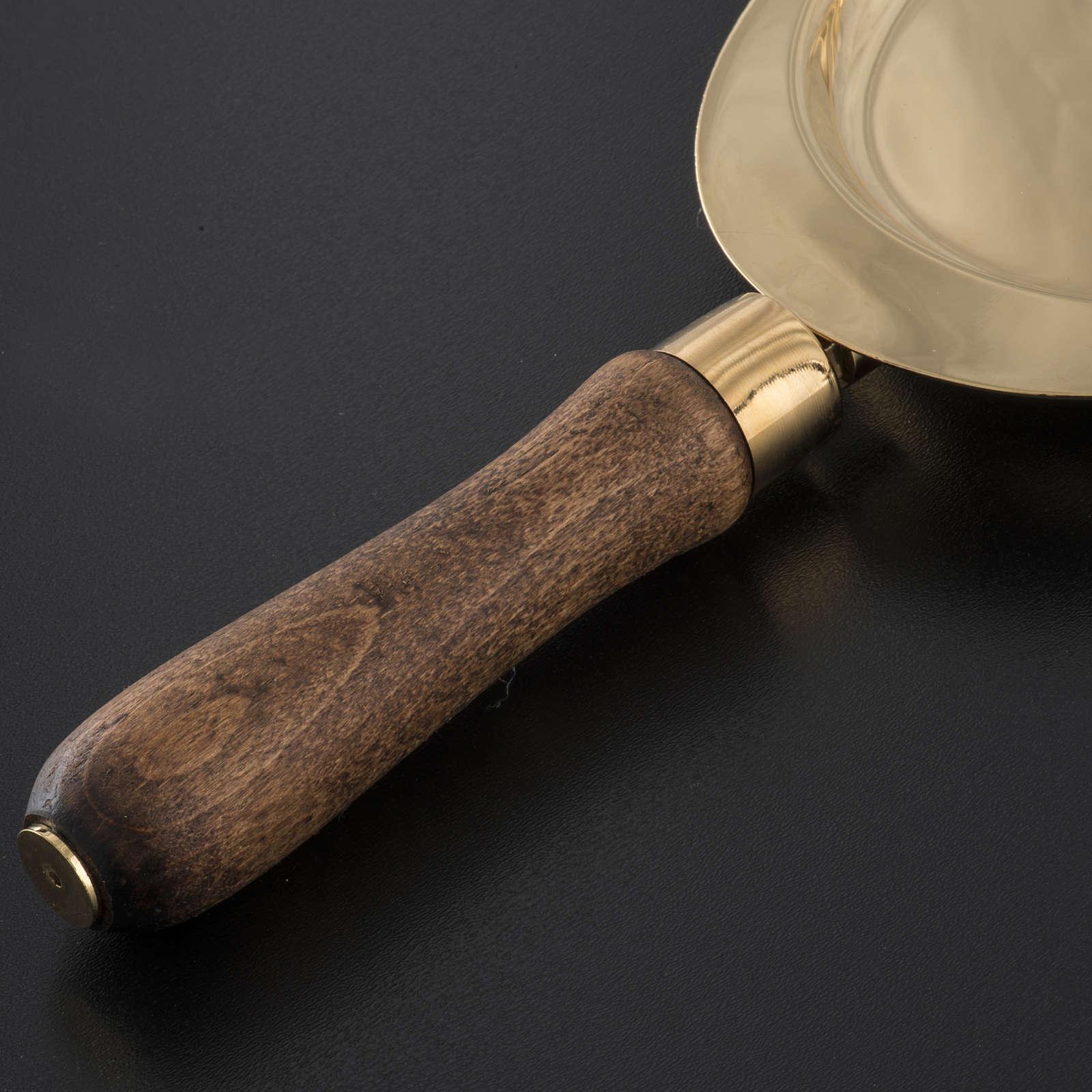 Piattello per comunione ottone manico legno 3